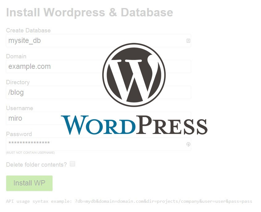 Automatically Install WordPress and Create Database on Plesk